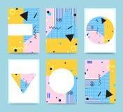 Satz von Memphis Style Cards Typografie für Postkarten Stockfoto