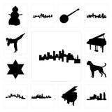 Satz von Minnesota, Long Island, Flügel, Kansas- Cityskyline, Pittsburgh-Boxerhund, Stern David, Karatetrittikonen Stockfoto