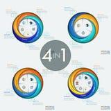 Satz von 4 modernen kreisförmigen infographic Designschablonen mit Sektoren Lizenzfreies Stockfoto
