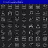 Satz von 49 modernen Projektleitervektorikonen Stockbilder