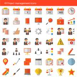 Satz von 49 modernen Projektleitervektorikonen Lizenzfreie Stockbilder