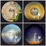Satz von 4 Musikalbum-Abdeckung Schabloneen Abstrakte mehrfarbige Hintergründe Pyramiden 3d lizenzfreie abbildung