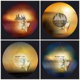Satz von 4 Musikalbum-Abdeckung Schabloneen Auszug stock abbildung