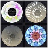 Satz von 4 Musikalbum-Abdeckung Schabloneen Auszug lizenzfreie abbildung