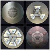 Satz von 4 Musikalbum-Abdeckung Schabloneen Entziehen Sie Hintergründe Geometrische Muster lizenzfreie abbildung