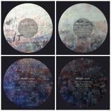 Satz von 4 Musikalbum-Abdeckung Schabloneen graffiti stock abbildung