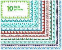 Satz von 10 Mustern für Vektorbürsten Lizenzfreie Stockbilder