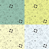 Satz von Musterseereisen Muster mit vier Gekritzeln von verschiedenen Hintergrundfarben Lizenzfreie Stockbilder