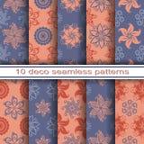 Satz von 10 nahtlosen dekorativen Blumenmustern Lizenzfreie Stockbilder