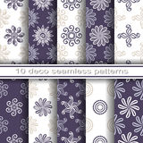 Satz von 10 nahtlosen dekorativen Blumenmustern Lizenzfreies Stockbild