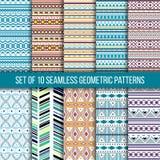 Satz von 10 nahtlosen geometrischen Mustern Stockbilder