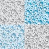Satz von 4 nahtlosen Hintergrundwassertropfen Lizenzfreie Stockbilder