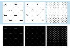 Satz von 6 nahtlosen Mustern mit dem Schnurrbart, Krone und Punkten Kleine Manndruck-Parteidekoration stock abbildung