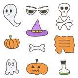 Satz von nettem buntem Halloween kritzelt, Hand gezeichnete Aufkleber auf weißem Hintergrund Lizenzfreie Stockbilder