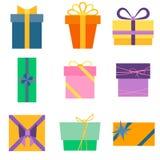 Satz von neun bunten Ikonen von Geschenkboxen Lizenzfreie Stockbilder