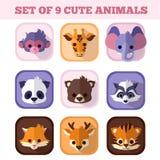 Satz von neun flachen Ikonen der netten Tiere Stockfoto
