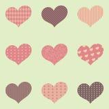 Satz von neun Herzen mit verschiedenen Mustern nach innen lizenzfreie abbildung