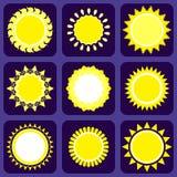 Satz von neun Ikonen mit Sun Lizenzfreie Abbildung