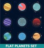 Satz von neun modische Sciencefiction Nicht-realistischen Fantsy-Planeten auf Raum-Hintergrund mit Sternen Flache Designvektorill Stockfotos