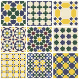 Satz von neun orientalischen islamischen mauretanischen nahtlosen Mustern Stockbilder