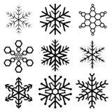 Satz von neun Schneeflocken Stock Abbildung