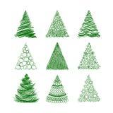 Satz von neun Weihnachtsbäumen lokalisiert auf weißem Hintergrund Lizenzfreies Stockfoto