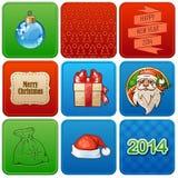 Satz von neun Weihnachtsretro- Karten Lizenzfreie Stockfotos