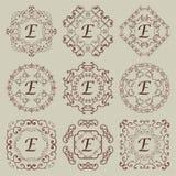 Satz von neun Weinlesemonogrammen lizenzfreie abbildung