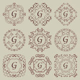 Satz von neun Weinlesemonogrammen Stockbilder