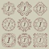 Satz von neun Weinlesemonogrammen Stockfotografie