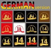 Satz von Nr. vierzehn 14 Jahre Feierdesign Zahl-Schablonenelemente des Jahrestages goldene für Ihre Geburtstagsfeier Transla stock abbildung