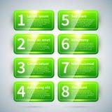 Satz von 8 nummerierte Fahnen mit verschiedenen Wahlen Lizenzfreies Stockbild