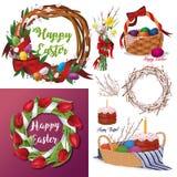 Satz von Ostern Blumenkränze, Tulpen, Weidenkorb mit Ostern-Kuchen und farbige Eier Lizenzfreie Stockbilder