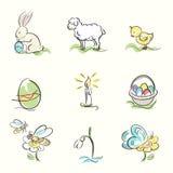 Satz von Ostern und Frühling übergeben gezogene Illustrationen Stockbild