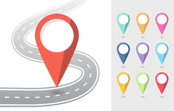 Satz von Pin Pointers Flat Icons mit Straße Lizenzfreie Stockfotografie