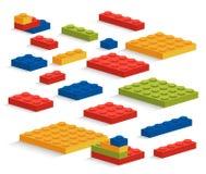 Satz von Plastik-Stücken oder Erbauer Lego Stockfoto
