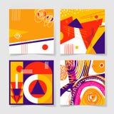 Satz von 4 Poster mit abstraktem modischem Musterhintergrund lizenzfreie abbildung