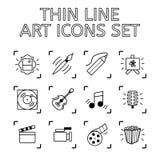 Satz von 12 Qualitäts-Ikonen Art Theme - Zeichnung und Malerei, Musik, Lizenzfreies Stockbild