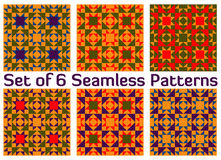 Satz von 6 Retro- geometrischen nahtlosen Mustern mit Dreiecken und Quadraten von roten, blauen, grünen, violetten und orange Sch Stockbild