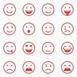 Satz von roten Emoticons, von Emoji und von Avatara Umreißen Sie Art lokalisierte Vektorillustration auf weißem Hintergrund Lizenzfreies Stockbild