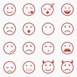 Satz von roten Emoticons, von Emoji und von Avatara Umreißen Sie Art lokalisierte Vektorillustration auf weißem Hintergrund Lizenzfreies Stockfoto