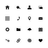 Satz von 16 schwarzen materiellen Design Glyph-Netzikonen Lizenzfreie Stockfotos