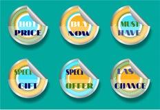 Satz von sechs Aufklebern, Text - bester Preis, Kauf jetzt Lizenzfreies Stockfoto