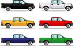 Satz von sechs färbte Autos lokalisiert auf Weiß Stockfoto