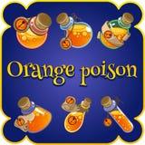 Satz von sechs Flaschen mit orange Gift vektor abbildung