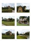 Satz von sechs französischen Landschafts-Häusern Stockfotos