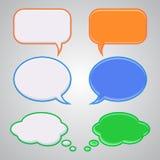 Satz von sechs komischer Rede der attraktiven Blasen, Grün, Orange, Blau, Stockbild