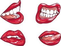 Satz von sechs roten sexy weiblichen Lippen stock abbildung