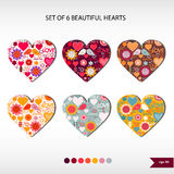 Satz von sechs schönen Herzen Stockfoto