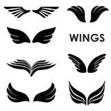 Satz von sechs Vektor-Schattenbild-Flügeln Stockfotografie